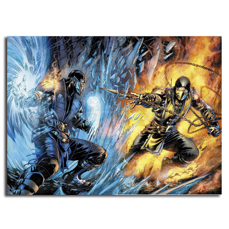 Mortal Kombat Scorpion Vs Sub Zero Wallpaper Hd Art Canvas Poster Painting Wall Picture Print For Modern Home Bedroom Decoration