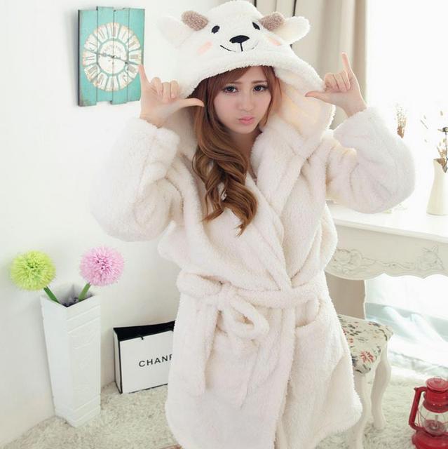 (1PCS/Lot) Women's Bathrobe Cute robes cartoon animal Size S M L Microfiber bathrobe 4 colors Super soft & nice