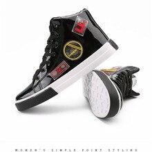 Мужские черные глянцевые туфли для отдыха наивысшего качества, обувь для скейтбординга, улица хип-хоп, спортивные кроссовки из искусственной кожи на резиновой подошве