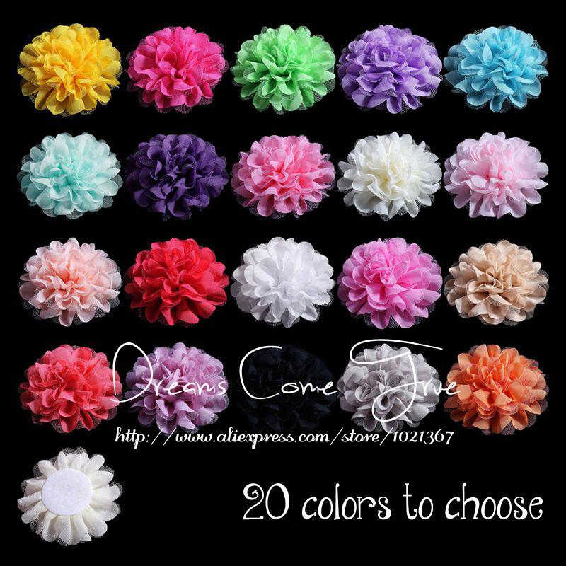 200pcs lot 12CM 20Colors New Arrived FlatBack Large Mesh tulle Fabric Flowers For Headbands Baby Accessories