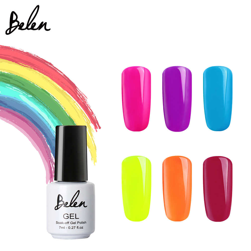 Belen 7 Ml Macaron Candy Warna Kuku Gel Polish Nail Art Semi Permanen Rendam Off Uv Gel Varnish Warna Neon gel Manicure