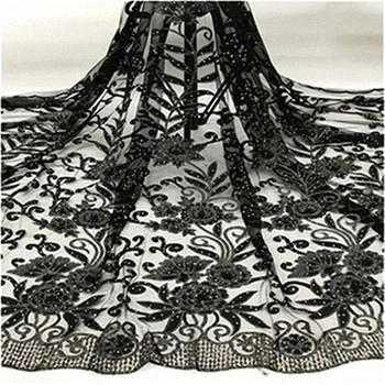 Black Net Tulle Lace Fabric 2019 beads stones Latest High Quality Wedding Laces Nigeria Embroidery Mesh Guipure Laces Fabric