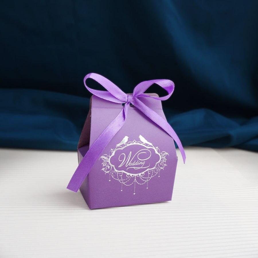 New 100pcs Lot Small Size Romantic Purple Card Paper Wedding Favor