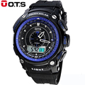 Fashion OTS Large Sports Brand Watch Men's Digital Water Resistant Quartz Alarm Wristwatches Outdoor Military LED Casual Watches