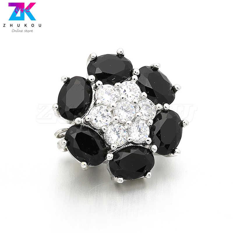 3 шт. 16*19 мм сверкающие Высокое качество латуни кубического циркония застежками Крючки Diy ювелирных изделий, отверстие: 1 мм, Модель: VK6