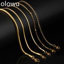 Olowu, женское, мужское ожерелье, серебряное, золотое, цвет, нержавеющая сталь, Санке, звено, цепочки, ожерелье для мужчин, ювелирное изделие,, 20 дюймов