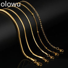 olowu Women Men Chain Necklace Silver Gold Color Stainless Steel Sanke Link Chains For Male Jewelry Wholesale 20 inches