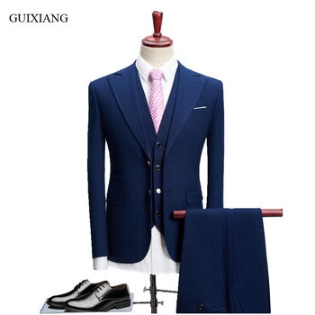 New Arrival Style Men High-end Boutique Suits Business Casual Single Breasted Groom Dress Men's Solid Three-pieces Suit S-4XL