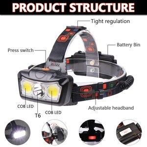 Image 2 - Đèn LED Siêu Sáng Đèn Pha T6 + COB LED Đèn Pha Đèn Đội Đầu Đèn Pin Đèn Pin Lanterna Đầu Sử Dụng 2*18650 pin Dành Cho Cắm Trại