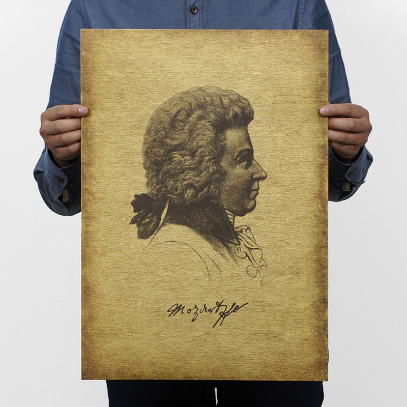Free shipping,Musician/Composer/Mozart/kraft paper / Cafe / bar poster/ Retro Poster/decorative painting 51x35.5cm