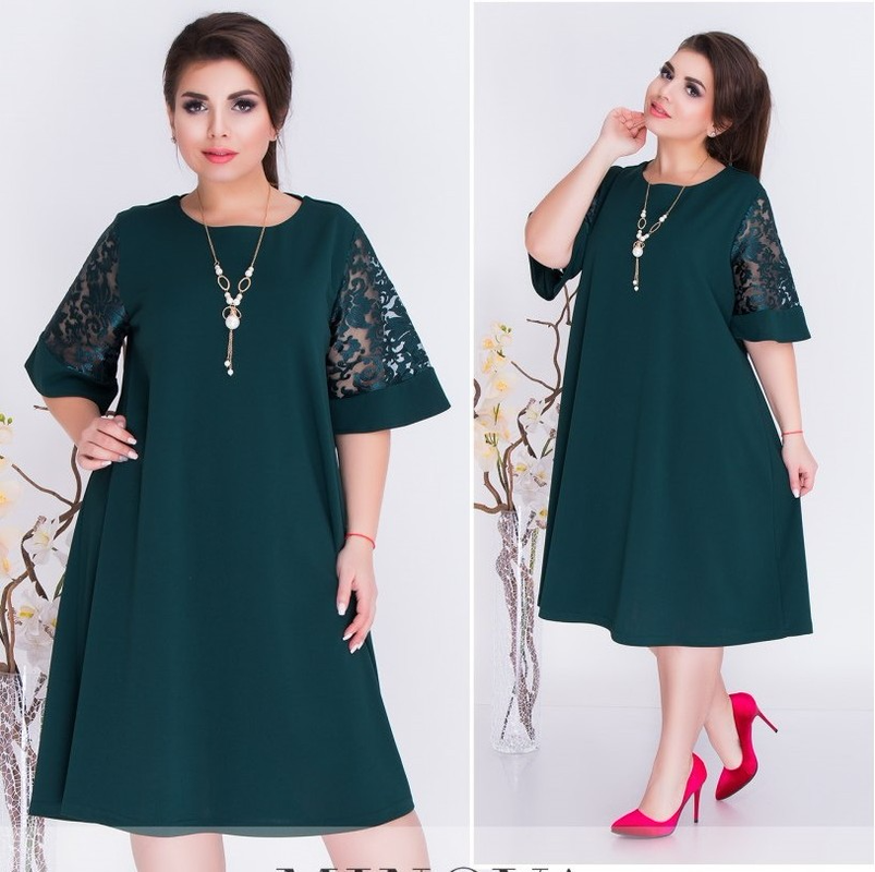 6XL Women Office Lady Plus Size Dress Casual Clothes Loose Lace Short Sleeve Summer Dress Green Red Party Midi Dress Vestidos