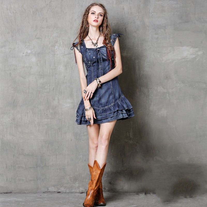 Slim À Femmes Sans Manches Robe Jean Femme Volants Doux Mode Denim Fit Mini D'été Nouvelle Blue Gothique Étoiles Broderie 4wxSSOqdP