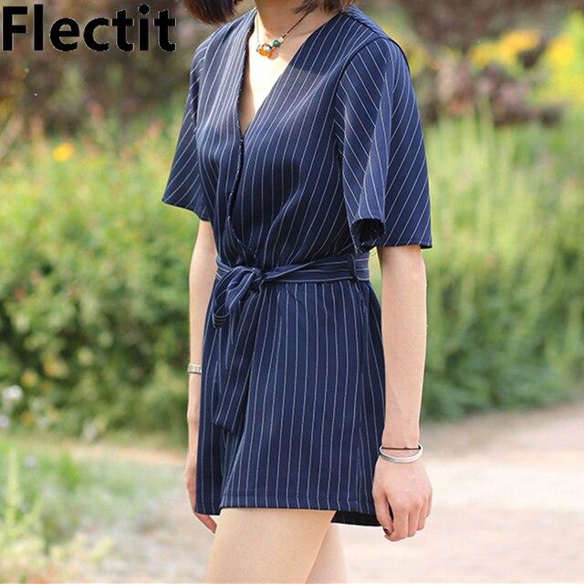 196042df911 Flectit Plus Size S- XL Women Striped Japanese Kimono Sleeves Short Jumpsuit  With Self Tie