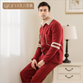 2017 Invierno Marca conjuntos de Pijamas homewear Casual Male de Los Hombres Cordero Caliente traje de la Ropa de Los Hombres Da Vuelta-abajo de manga Larga Coat + Pants