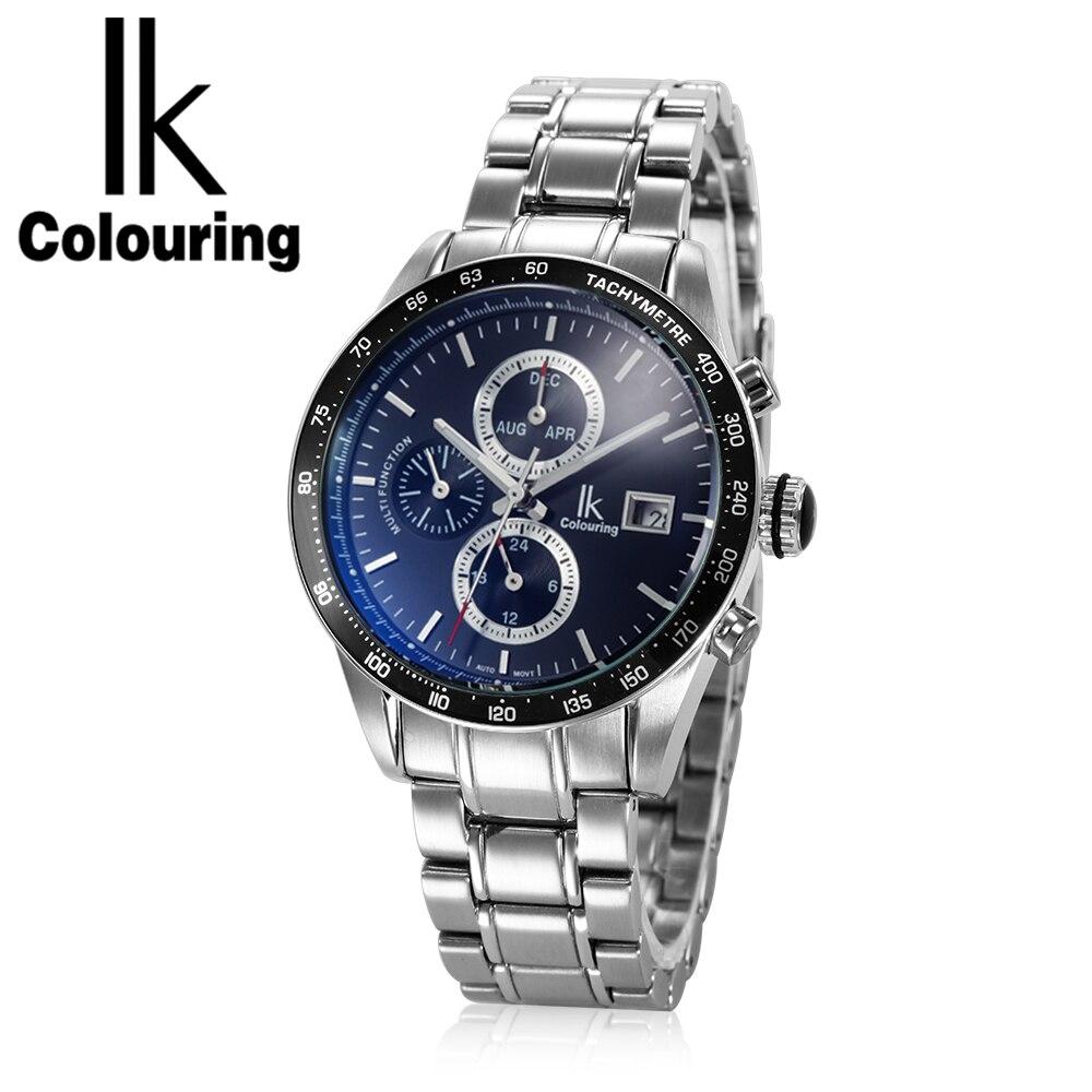 997be56512d IK Coloração Relógio Do Esporte Mecânico dos homens 10ATM Resistente À Água  de Aço Inoxidável Completa Relogio Masculino Relógio de Pulso Auto Data ...