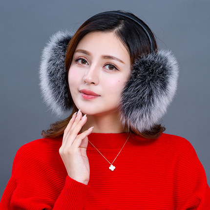MIARA.L 2019new And Foldable Fox Fur Earmuffs Female Leather Grass Earmuffs Winter Warm Ear Bag Ear Scorpion Outdoor For Women