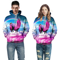 New 2019 Women Men Fashion galaxy llama Hoodie Outerwear Harajuku rainbow pink alpaca 3D Hoodies Loose Hooded Sweatshirt