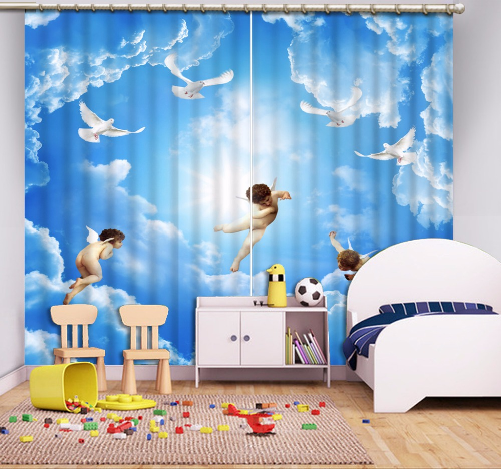 Blue sky and white clouds angel 3D Curtains Kitchen For Bedroom ...