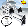 Klaxon d'air à quatre trompette 12V / 24V 150dB | Pièces de style de voiture  haut-parleur de voiture pour véhicule de voiture  Train de camions  SUV