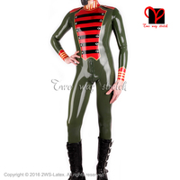 Sexy military latex Catsuit with stripes back to crotch zip Rubber Jumpsuit Unitard overall BodySuit zentai size XXXL LT 090