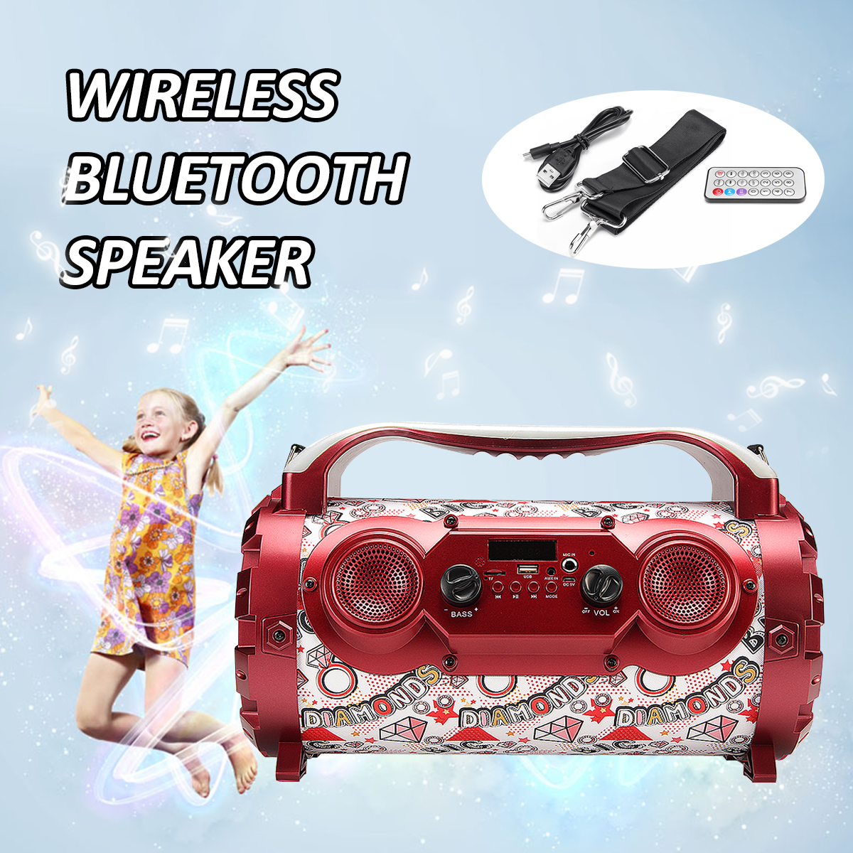 Red Wireless Bluetooth Speakers 15W Portable Loudspeaker Low Sound System Outdoor Car Music Speakers Radio Player 36x18x22cm [terns]sony bluetooth enabled speakers red srs x3 rc[japan import]