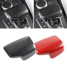Car Carbon Fiber Style Interior Gear Shift Knob Head Cover Protective Trim For Audi A4 B9/ A5/ Q5/ Q7/ A6L/ S6/ A7/ S7 only LHD for audi a4 a5 q5 a6 s6 a7 s7 q7 carbon fiber gear shift knob cover fit left