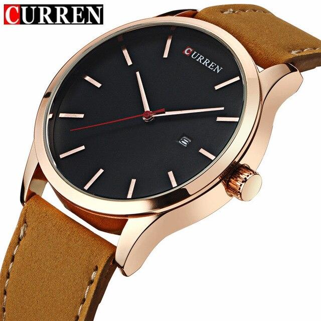 3698ac052550 Curren Luxury Calendar Date Leather Waterproof Analog Men Quartz Watches