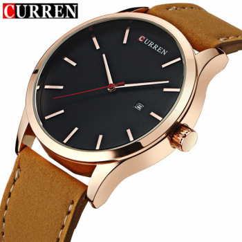 Curren Luxury Calendar Date Leather Waterproof Analog Men Quartz Watches