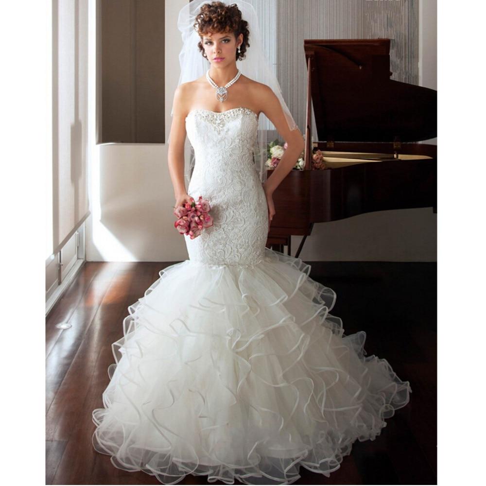 Cheap White Ivory Wedding Dresses Mermaid Lace Appliques: Vestido De Noiva Custom Made White/Ivory Satin Applique