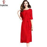 Бренд Для Женщин Шелковое Платье 2018 г. весенние и осенние новые шелк 100% темперамент элегантный тонкий ремень моды красное платье LZ753