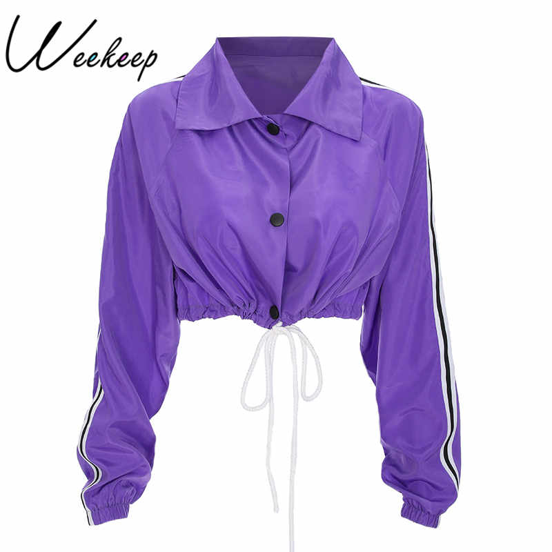 Weekeep Fashion Cropped Long Sleeve Single Breasted Jacket Women Loose Lace Up Casaco Feminino Summer Crop Rash Guards Top
