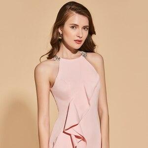 Image 4 - Женское вечернее платье Русалка Dressv, розовое элегантное платье с разрезом спереди и жемчугом, длиной до пола, вечерние свадебные платья с бисером