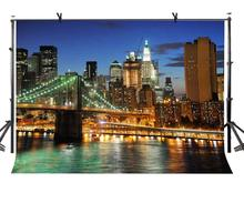 7x5ft New York Night Backdrop City Bridge Photography Background and Studio Props