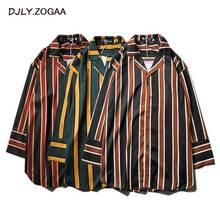 ZOGAA 2019 Vertical Stripe Women Shirt Streetwear Female Full Sleeve Shirts Womens Fashion BF England Loose