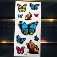 1PC Beauty Flash Butterfly Water Transfer Temporary Tattoo Women Body Art Makeup Tattoo Stickers P3D-30 3D Butterfly Tatoo Child(China)