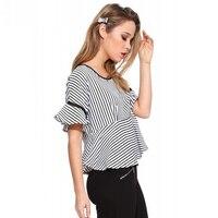 Queechalle Fashion Striped Shirt Summer Ruffles Butterfly Sleeve Short Loose Tops S 3XL Plus Size Cute Blouse Women shirts
