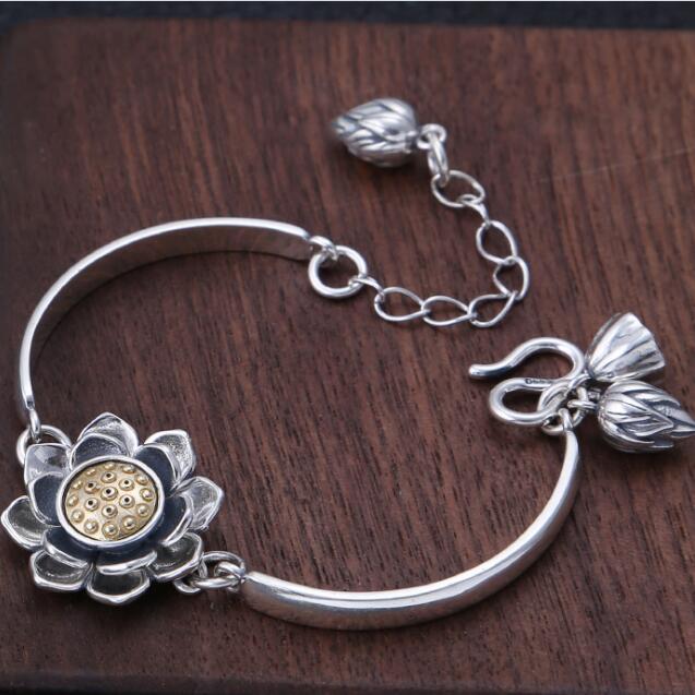 Handmade 100% 925 Silver Lotus Bracelet Thai Silver Lady Chain Bracelet Vintage Sterling Buddhist Lotus Bracelet Jewelry Gift fashion 925 sterling silver vintage handmade sugilite bracelet women thai silver gift jewelry ch052535