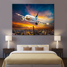 Wall Art Decorative Painting 1 Panel Dusk City Big Plane Canvas Picture For Living Room Or Bedroom Modern HD Print Type