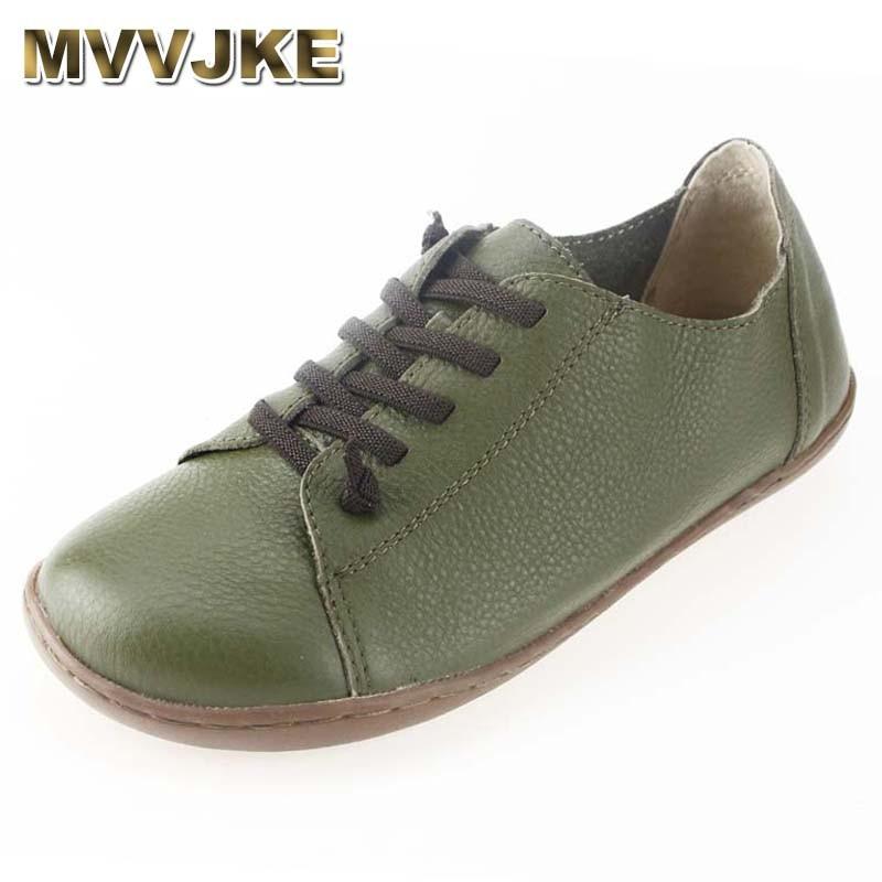 MVVJKE Women Shoes Flat 100% Authentic Leather Plain toe Lace up Ladies Shoes Flats Woman Moccasins Female Footwear