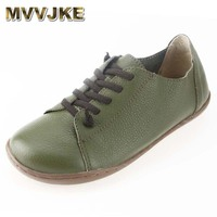 MVVJKE Women Shoes Flat 100% Authentic Leather Plain toe Lace up Ladies Shoes Flats Woman Moccasins Female Footwear