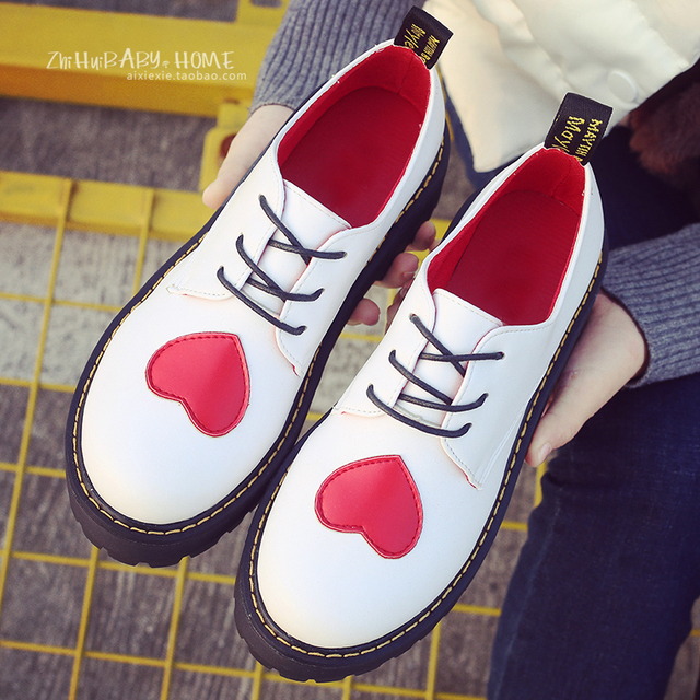 0e9b5dfd973 British style heart pattern brogue shoes woman black white leather oxford  derby shoes lace up