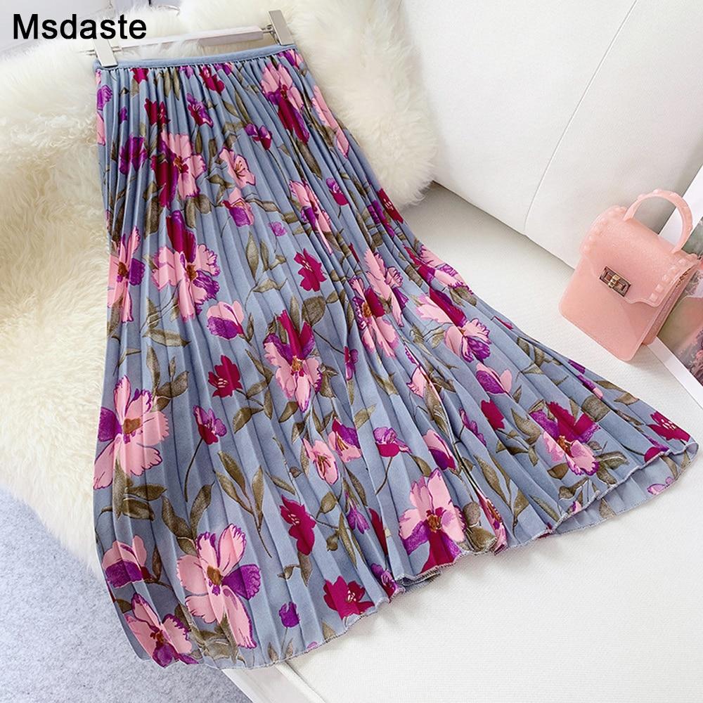 Pleated Skirt 2019 Summer New Fashion Elegant Sweet Chiffon Flower Printed Ladies Vintage Elastic High Waist Long Women Skirts