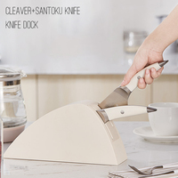 Kitchen Knife set with Holder, Cleaver+santoku knife+knife stand , Germany Stainless Steel