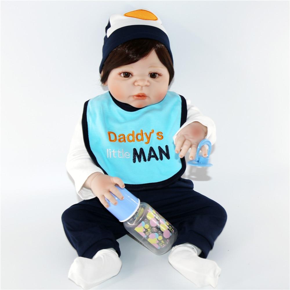 60 см силиконовые куклы Reborn Baby гладкие коричневые короткие волосы мальчик реалистичный хлопок тело Детские куклы мягкое прикосновение Дети ... - 4