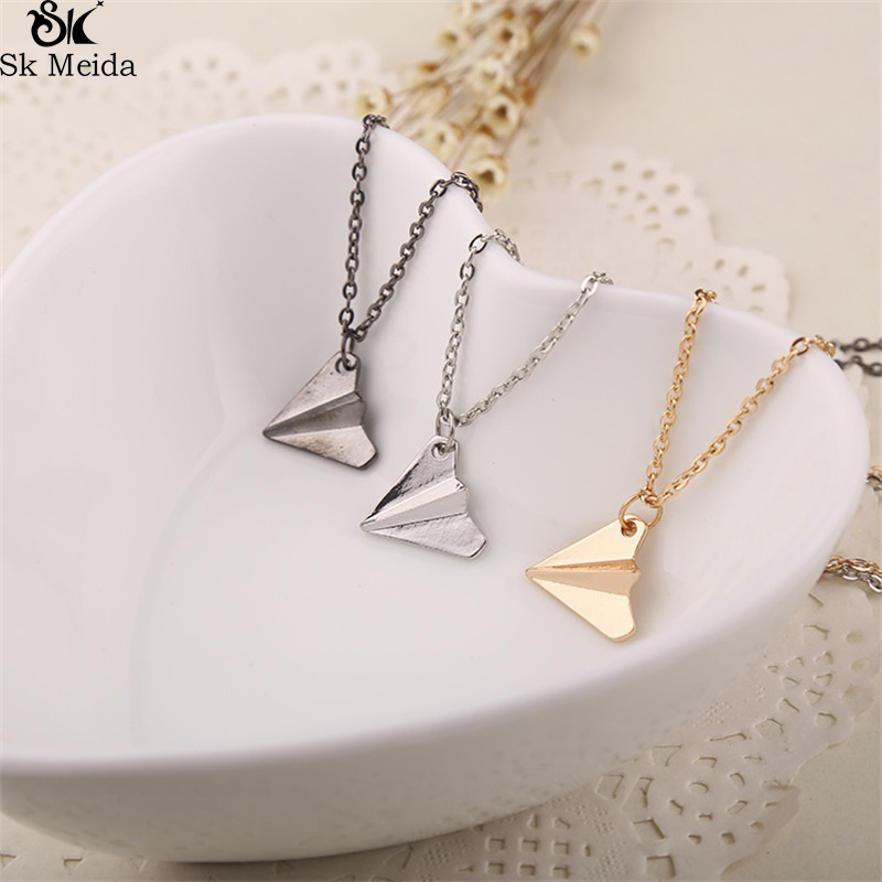 One Direction Origami Plane necklaces black Gold silver necklace Simple Paper tiny aircraft Airplane harry Style jewelryWW-162 image