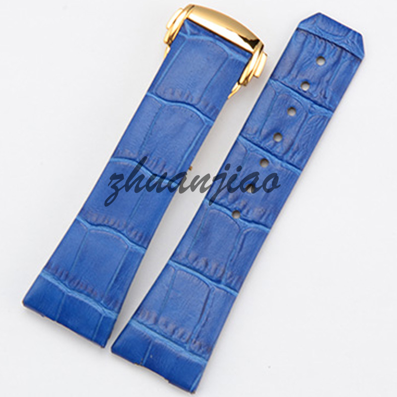 Blue and green leather Watchband butterfly buckle watch accessories for woman 23mm 17mm b8 custom order italian leather watch strap 12 23mm blue watchband with free shipping