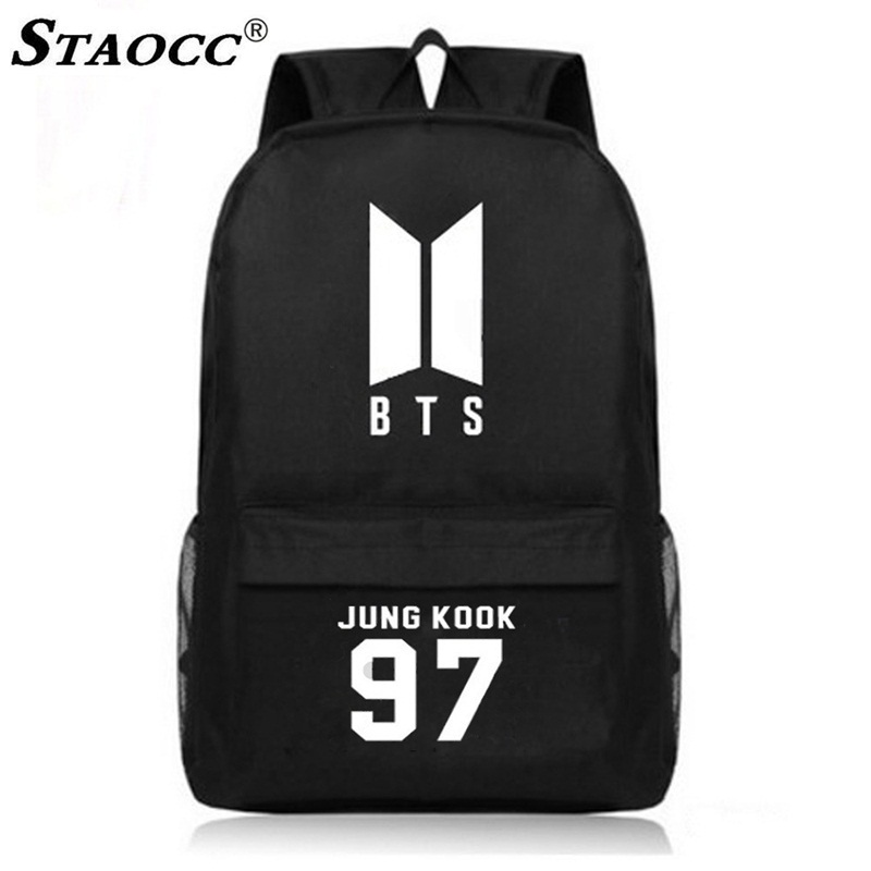 Black BTS Backpack School Bag Canvas Rucksack Korea BTS Print Schoolbag For Teenage Boys Girls Satchel Book Bag Travel Backpack 3 pcs set fashion canvas printing backpack women school bags for teenage girls cute book bag travel satchel rucksack