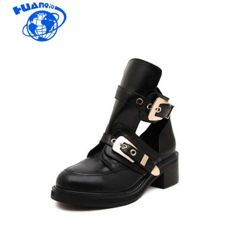 HUANQIU европейской и американской моды в стиле панк небольшие кожаные ботинки пряжки ремня полые сапоги Для женщин Wyq267