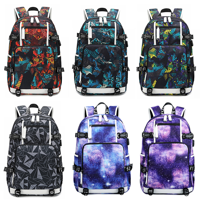 Fashion Starry Sky Backpack Students School Daypack Bags External USB Charge Laptop Backpacks Teenagers Casual Travel Mochila in Backpacks from Luggage Bags