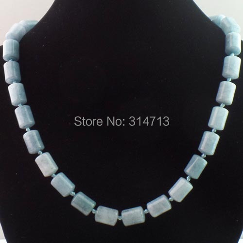L00168 Hot! Purpulor 1Strand Of Blue Stone Column Beads Girl Necklace 17.5 inch 15x10mm